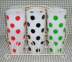 FIREKING Fire-King POLKA DOTS frosted GLASSES tumblers in rack DOT