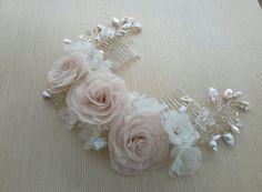 Novia pelo peine boda peine flor rosa rosa nupcial pelo flor
