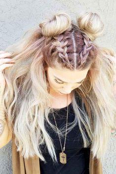 Two Trendy Topknots Over Braids Set in Free flowing Medium Blonde Messy Hair #Summerhair  #Summerhairstyles #Hairstyles #Hairstylesforwomen #Braids