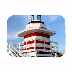 """Philip Brown """"Lighthouse Lifeguard Stand"""" Blue Photography Place Mat"""