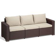 Allibert California Brown 3 Seat Rattan Sofa & Cushions