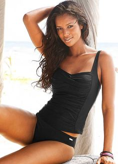 LASCANA Black Underwired Pleated Tankini | Tankinis | Womens | Swimwear365
