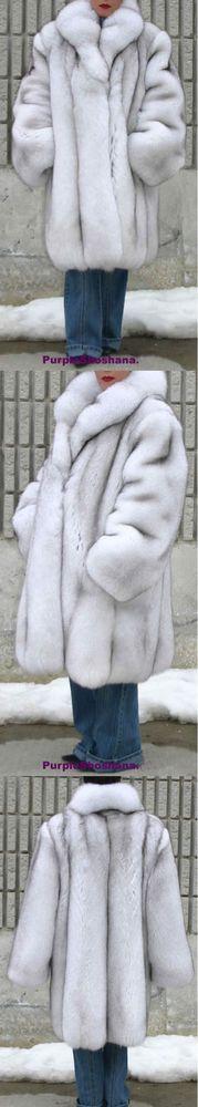 Unique Plush Solid Silver Canadian Blue Fox Fur Coat - Detachable Cape M/L  | Clothing, Shoes & Accessories, Women's Clothing, Coats & Jackets | eBay!