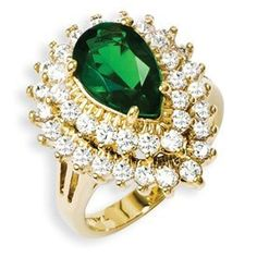 Jacqueline Jackie Kennedy Cocktail Ring Green Pear Swarovski Crystal Cubic Zirconia 24k Gold Plated