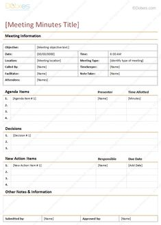 minutes for a meeting template