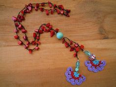 crochet necklace purple red turquoise by PashaBodrum on Etsy