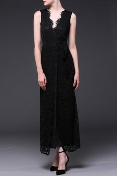 long black lace dress