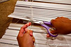 DIY Roman Shade From Mini-Blinds and Shower Curtain |