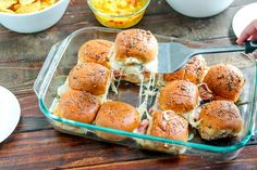 These EASY hot Ham Cheese Sliders (aka Hawaiian Sliders in my house) are PERFECT for game day. Make a double batch to feed a crowd! Ham And Cheese Sliders Hawaiian, Ham Cheese Sliders, Ham And Swiss Sliders, Appetizers For Party, Appetizer Recipes, Slider Sandwiches, Bacon Sausage, Slider Buns, Slider Recipes