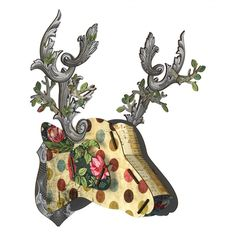 Miho Big Deer Head Large Antler Wall Decor Spotted with Silver Antlers Designers Guild, Decorative Accessories, Home Accessories, Franck Fischer, Antler Wall Decor, Big Deer, Deer Family, Stag Head, Deco Originale