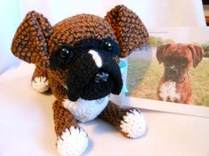 Crochet Dog Boxer Dog Custom Made to Look Like by KatesCache