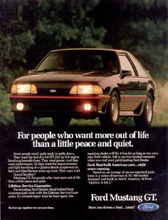 1988 Fox Body #Mustang GT ad from #Ford Motor Company