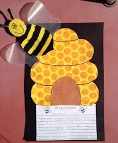 We learned all about bees last week and I came up with this bee and beehive project for the kids to make. I am doing an Insect Unit for Ope. Cute Writing, Writing Paper, Insect Activities, Writing Activities, Kindergarten Science, Preschool Ideas, Teaching Ideas, Reading Street, Bee Theme