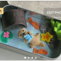 Your place to buy and sell all things handmade Otter altoid tin miniature felt plush stuffed animal playset-handmade- otter stuffed animal - miniature otter -tiny felt animals -wishwithme Sewing Projects For Kids, Sewing For Kids, Cute Crafts, Felt Crafts, Kid Crafts, Puffy Paint, Travel Toys, Felt Animals, Felt Stuffed Animals