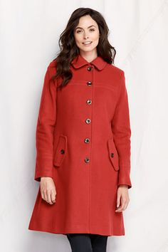 $199, Orange Coat: Lands' End Luxe Wool Swing Car Coat. Sold by Lands' End. Click for more info: https://lookastic.com/women/shop_items/6948/redirect