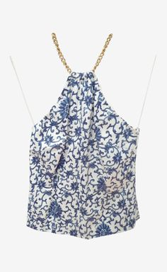 Ralph Lauren Collection White And Blue Top