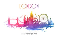 Watercolor illustration featuring London skyline with silhouettes of classic buildings and cultural landmarks. In tones of pink and blue, colors are