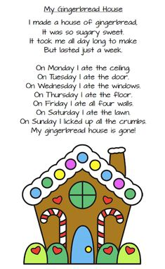 Three Christmas poems for young children (Peppermint Stick, December, My Gingerbread House) for primary students. These printables are free. Childrens Christmas, Preschool Christmas, Christmas Activities, Kids Christmas Poems, December Poems, Holiday Poems, Gingerbread Man Activities, Poetry For Kids, Kids Poems