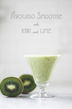 Avocado Smoothie with Kiwi and Lime= 1/2  ripe large avocado 2 kiwi- peeled 1/8 C lime juice + 1  T 1/8 C-1/4 C Almond milk, coconut milk, aloe juice, fruit juice- just enough to get the blender going. honey to taste 1-2 T 2-3 ice cubes