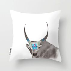 Hungarian gray cattle Watercolor Throw Pillow by Thepaintnest