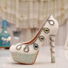 Cheap prom shoes, Buy Quality rhinestone platform directly from China ab crystal heels Suppliers: High Heel Rhinestone Platform Bridal Dress White Pearl Wedding Dress Shoes AB Crystal Heel Pumps Party Prom Shoes Rhinestone Wedding Shoes, Wedding Shoes Bride, White Wedding Shoes, Wedding Shoes Heels, Prom Heels, Bride Shoes, Wedding Dress, Cheap Prom Shoes, Sparkle Shoes