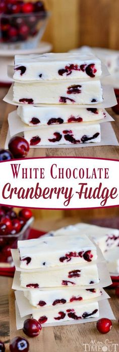 Mmmm, this fudge looks awesome! This White Chocolate Cranberry Fudge is so smooth, so creamy, so rich with the refreshing zip of cranberries! Just perfect for the holidays! // Mom On Timeout Candy Recipes, Sweet Recipes, Holiday Recipes, Dessert Recipes, Dinner Recipes, Christmas Sweets Recipes, Fun Recipes, Healthy Recipes, Holiday Foods