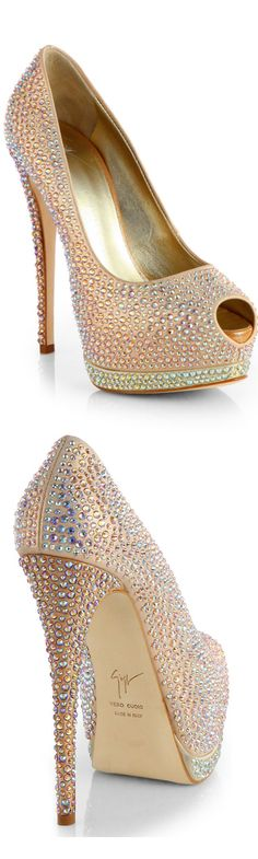 Giuseppe Zanotti Jeweled Satin Platform Pumps