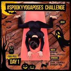 WOOHOO! Today is DAY 1 of #SpookYogaPoses! Join us from now or jump in any time until Oct. 31 to qualify for prizes! _____________________________ Todays pose is Frog Pose. Frog Pose: 1. Begin on your hands and knees with your hands shoulder-width apart and knees hip-width apart. 2. Slowly lower onto your forearms and chest crawling your arms out in front of you. 3. Spread your knees and lower your hips to the mat. 4. Take 5-7 long breaths. _____________________________ Give it a shot and…