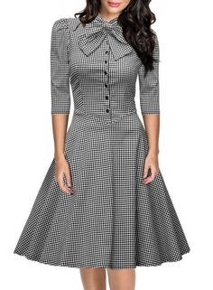 Miusol Women's Official Bow Neck Plaid Slim Half Sleeve Vintage Dress,Gray,XX-Large