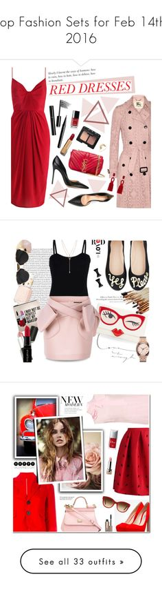 """""""Top Fashion Sets for Feb 14th, 2016"""" by polyvore ❤ liked on Polyvore featuring Burberry, Gianvito Rossi, Yves Saint Laurent, Chanel, Marc Jacobs, Bobbi Brown Cosmetics, NARS Cosmetics, Sarah & Sebastian, Oscar de la Renta and women's clothing"""