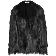 Stella McCartney Faux fur coat (€820) ❤ liked on Polyvore featuring outerwear, coats, jackets, coats & jackets, fur, black, black faux fur coat, black coat, black flared coat and flare coat