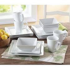 16 Pc Kitchen Dinnerware Porcelain Square Durable Dishes Plates Soup Bowls Mugs in Home \u0026 Garden Kitchen Dining \u0026 Bar Dinnerware \u0026 Serving Dishes ... & My dishes! So pretty Gibson Studio Pleasanton 16-Piece Dinnerware ...