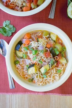Ramen Vegetable Soup - Perfect for cooler weather, could substitute angel hair pasta in place of the ramen noodles