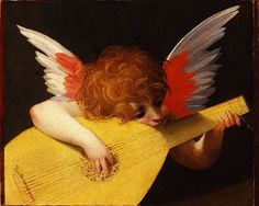 Giovanni Battista di Jacopo (Italian Mannerist painter, 1494–1540), known as Rosso Fiorentino (meaning the Red Florentine in Italian) Angel with Lute Madonna dello Spedalingo