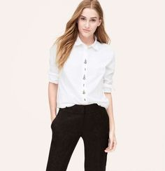 Ann Taylor Loft | Embellished Softened Shirt #anntaylorloft #white #shirt