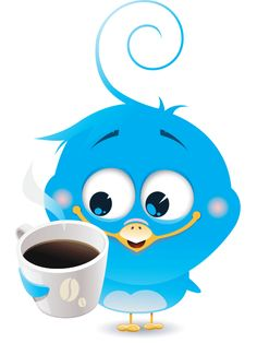 This cute little bird is definitely a bird of happiness with its delicious cup of coffee.
