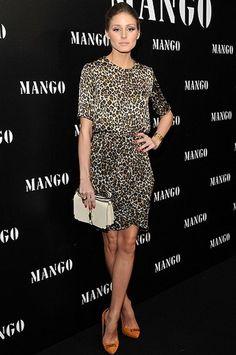 Olivia Palermo en un vestido print animal de Mango