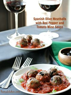 Spanish Olive Meatballs/ GLUTEN-FREE/ LOW FAT/ DIABETIC FRIENDLY/ LOW CARB/ Quick and Easy appetiser or main dish with a big tossed salad/ http://bamskitchen.com