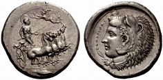 tetradrachm of Kamarina, Sicily from circa 410 BCE. Heartless in lion skin on reverse.