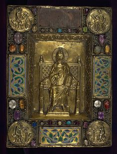 Wood boards are original, but ornate gilded metal cover, with Christ enthroned surrounded by Evangelists in medallions, is a nineteenth-or early twentieth-century pastiche, however a letter from Gruel in the file states he thought it was authentic; champlevé enamel panels embedded in cover are, however, authentic, and date to ca. 1200, Germany (one was removed due to condition in 1955); red velvet on lower board is nineteenth century This fragmentary Psalter was made in the thirteenth…
