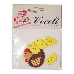 Botão galinha para artesanato, patchwork, scrapbook, roupas.