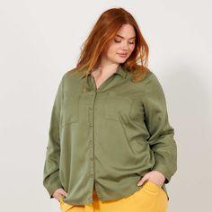 87d15a5d1a1b Camicia fluida lyocell Taglie forti donna - verde licheno - Kiabi - 20