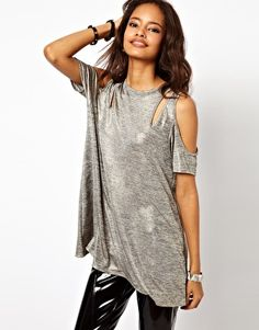 Enlarge ASOS Top with Cold Shoulder in Metallic Fabirc