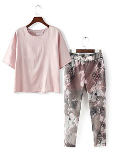 Round Neck Loose Top With Elastic Waist Florals Pant