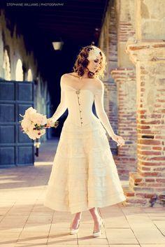 corset bodice and ruffled skirt