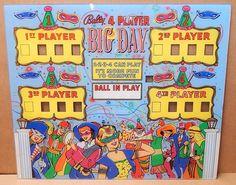 BALLY NOS 1964 BIG DAY PINBALL (PLEXIGLASS) BACKGLASS in Collectibles, Arcade, Jukeboxes & Pinball, Pinball, Replacement Parts | eBay