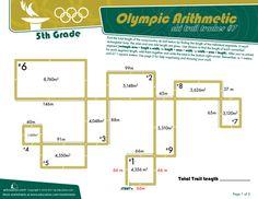 Worksheets: Olympic Arithmetic: Ski Trail Tracker #7 5th grade