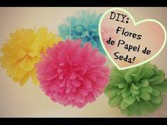 ♡ DIY: Flores / Pompom de Papel de Seda!