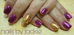 Young nails gel set  Metallic pink/purple powder  Gold foil accent nail art Nails by jackie