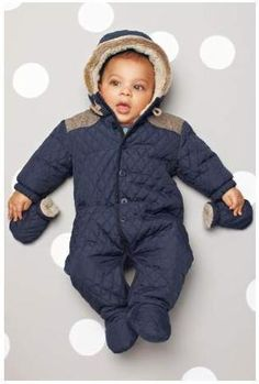 Next Baby Boys Quilted All-in-one/Babysuit/Pramsuit Fur hood BNWT | eBay
